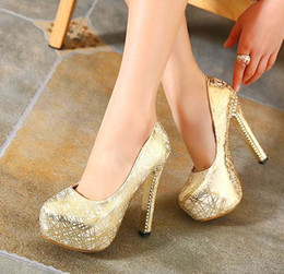 Wholesale Party Prom Gown Glitter Printed Pumps Women High Heels Platform Shoes Silver Gold Size to