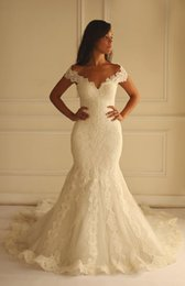 Wholesale Elegant Wedding Dresses Mermaid V Neck wedding gowns Sexy Lace Appliques High Quality Bride Gown Cap Sleeves SX226