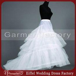 Wholesale 48hr Dispatch Cheap Bridal Petticoat A line Hoop White Tulle Wedding Dress Underskirt Crinoline with Train