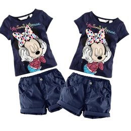 Wholesale Baby Kids Boys Girls Clothing Minnie Mouse T Shirt Shorts cartoon Outfit Set Year wsn