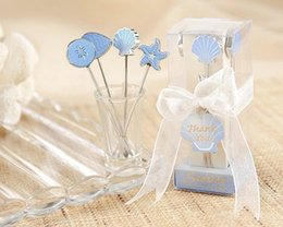 Wholesale Thanksgiving gift Romantic Blue Sea Themed Stainless Steel Fruit Forks Beach Wedding Party Decoration Favors