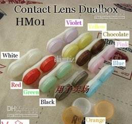 Wholesale New Arrive Fashion Hot Colors Dual Box Double Case Lens Soaking Case Contact Lens Case