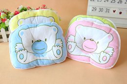 Wholesale Retail Baby pillow Cotton Soft Infant Toddler Lovely Bedding Bear Print Oval Shape Cotton Baby Shaping Pillow
