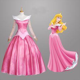 Wholesale 2015 New Arrival Adult Sleeping Beauty Dress Princess Aurora Cosplay Halloween Costume blue pink dress
