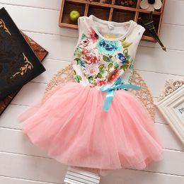Wholesale baby girl kids lace dress vintage flower tutu dress floral tutu dress cotton vest dress pettiskirt princess jumper bowknot fluffy tulle