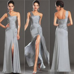Wholesale BM Modest Silver Prom Dresses With One Shoulder Side Slit Backless A Line Floor Length Chiffon Charming Customed Evening Pageant Gowns