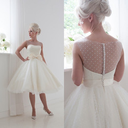 Wholesale Cute Lovely Knee Length Ball Gown Wedding Dresses Sexy Beaded Sheer Bateau Covered Button Back Organza Bridal Gowns with Large Bow Tie