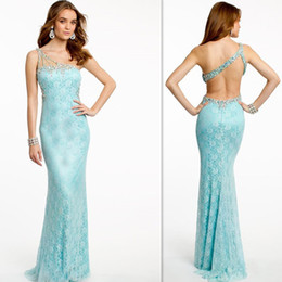 Wholesale Camillelavie Prom Dresses Aqua Lace One Shoulder Backless Evening Party Gowns Mermaid Style Long Dress For Girls Special Occasion