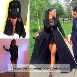 Wholesale Sexy Two Piece See Through Black Lace Short Prom Dresses Long Sleeve Detachable Coat Floor Length Evening Party Gowns