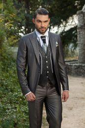 Wholesale Hot Sale Arabic Charcoal Customized Wedding Ceremony Mens Suit Groom Tuxedos bridegroom and Groomsman Suit Jacket Pants Tie Vest