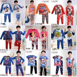 Wholesale 22 Style Children s Pajamas Big hero Spiderman mickey superman Turtles car cartoon cotton long sleeved kids pajamas suits set C00