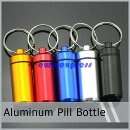 Wholesale 600pcs Aluminum pill container box case stash boxes witn keychain key ring pill holders medicine case pill Bottle organizer mm
