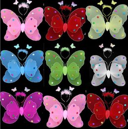 Wholesale 2015 New Hallowen Butterfly Fairy Wings Magic Wand Headband For Children Colors Mixorder Children s Day Gigt LJJH134