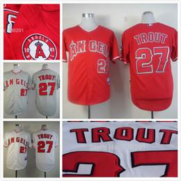 2017 baseball uniforms for sale 2015 new fashion baseball uniform LA Angels #27 Mike Trout Grey embroidered Cool Base jersey baseball jerseys for men HOT SALE Mix Order