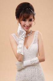 Wholesale Bridal Gloves Small white satin bowknot full finger short paragraph bride gloves S2017