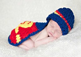 Wholesale COOL newborn baby girl boy Superman Costume Set Handmade Children Knitted Crochet Photography Props Hat and Cover cape shawl hat Month