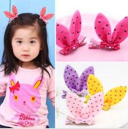 Wholesale Girls Rabit Ear Hair Clips Kids Hair Accessories Flower Clips Polka Dot Barrettes Hairpin Childrens Accessories Hair Slides Hairwear