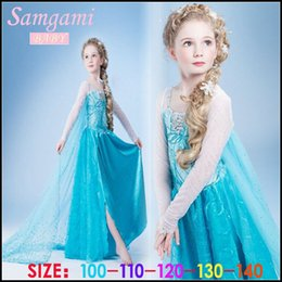 Wholesale Samgami Baby girls frozen elsa princess party dress fantastic sequins decorative pattern and snowflake in the chest long veil cape Sa0012