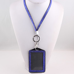 Discount rhinestone business card case High Quality Resin Rhinestone Crystal ID card Case Business Badge Card Holder with safety Lanyard Free shipping O141
