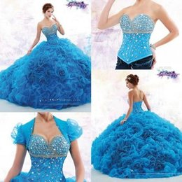 Wholesale Luxury Quinceanera Dresses Beaded Crystals Sweetheart Detachable Junior Pageant Prom Party Gown Princess Years Debutante Formal Wear