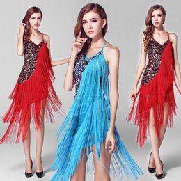 Wholesale Sexy dance clothes latin dance clothes sequined dance costumes ballroom dresses Tessels Modern dance performance stage dress