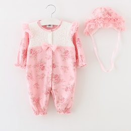 Wholesale baby girl infant toddler long sleeve outfits princess flower floral romper lace romper rosette cotton pajamas PJ S Sleeping bag hat cap
