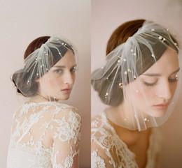 Wholesale Hot Seller LAYER White Ivory Blusher Wedding Veils Short Bridal Wedding Accessories Veil bridal wedding veil With Tulle Beads