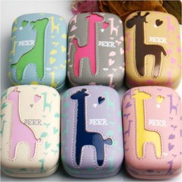 Wholesale Giraffe Contact Lens Case Candy Fashion Soaking Lenses Storage Cases Pu Leather Contact Lens Kits