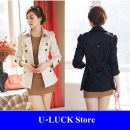 Wholesale Korean Elegant Short Khaki Black Trench Coat For Women Autumn Catwalk Women Abrigos Mujer Manteau Femme Casacos Feminino