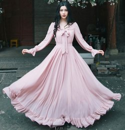 Wholesale Maxi Dresses Women Clothes Spring Big Girl Vintage Style Bow Pleated Long Sleeve Dress Ladies Pink Long Dress Lady Clothing I3615