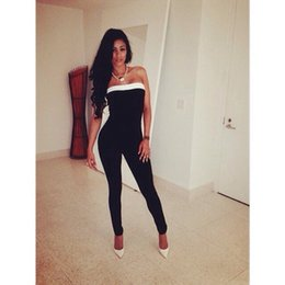 Wholesale Spot Hot Sexy jumpsuit Hit color Wrapped chest Waist Tight Jumpsuits A752