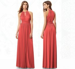 Wholesale Wow Cheap A Line Red Bridesmaid Dresses Sweep Train Sleeveless Satin Pleats Simple Prom Dress High Quality Special Dress sj273