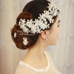 Wholesale Gorgeous Peals Wedding Hairband Crystal Handmade Flowers Wedding Accessories Bridal Wedding Tiaras Crown Wedding Hair Jewelry