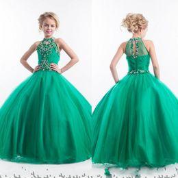 Wholesale 2016 Cute Pageant Dresses For Little Girls Ball Gown Flower Girls Dress For Wedding Beading Halter Green