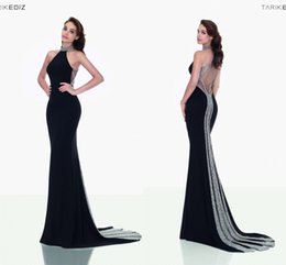 Wholesale 2016 Black Tarik Ediz Mermaid Evening Dresses Sexy Cutaway Halter Neck High Neck Beaded Illusion Evening Gowns with Sweep Train BA1145