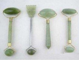 Wholesale 4PC green jade massage head neck face foot roller tool