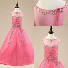 Wholesale New Real Pageant dresses for girls Flower girls dresses for weddings pink sequined Beaded ball gown Glitz floor length teen juniors dress