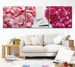 Wholesale 3 Pieces Hot Sell Modern Wall Painting Large Pink Rose Flower Petals Home Wall Art Picture Paint on Canvas Pure hand painted XD