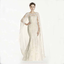 Wholesale Custom Made New Lace sheath gown with cap sleeves and boatneck with Chiffon Cape Style CWG717 Wedding Dresses Sexy Back Bride Clothing