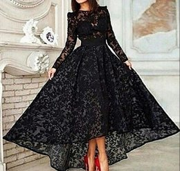 Wholesale 2015 Black Lace Muslim Evening Dress Cheap New Arrive Illusion Long Sleeve Party Evening Gowns Ball Gown Floor Length Plus Size Custom Made