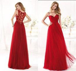 Wholesale Elegant Tarik Ediz Evening Dresses Red Tulle Beaded Scoop Formal Long Prom Dress Vestido Longo LH