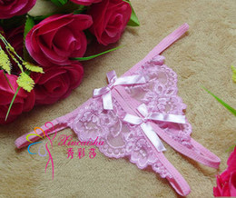 Wholesale Sexy Lingerie Women Girls Lace Ruffle Floral Open Crotch G Strings Thongs Briefs T Back Panties