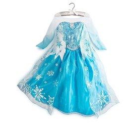 Wholesale 2014 Girl Party Dress Anna Princess Costume Girls Dresses Frozen Long Sleeves Autumn Dress Baby Girls Elsa Dress Frozen Dress EMS