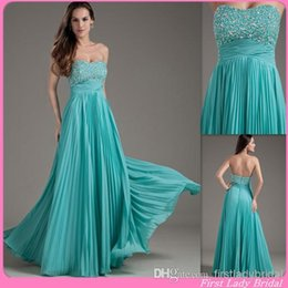 Wholesale 2015 Classy Turquoise Party Dresses For Women Strapless Beaded Empire Long Floor Length Evening Prom Gowns Open Back