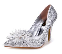 Wholesale 2016 New brand High heels CM Wedding Shoes shiny crystal shoes pointed Women shoes rhinestone Bridal shoes big size US4 US8 NSHX