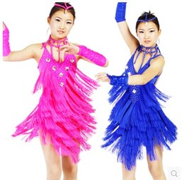 Wholesale Children Latin dance costume sexy diamond tassel latin dance dress for child latin dance competition costume dress colors