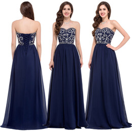 Wholesale Dark Navy Blue Bridesmaid Dresses Cheap Long Strapless Sleeveless Empire Corset Silver Beaded Chiffon Convertible Dresses Formal Gowns LA
