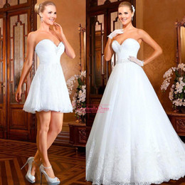 Wholesale 2015 Bling ball gown short Wedding dresses With detachable skirt train crystals beads top white tulle full length long bridal gowns