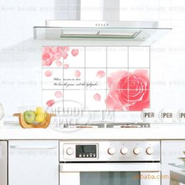 2017 Kitchen Tiling Decor 10 Pcs Home Decor Wholesale Kitchen Grease And Oil Paste Pink Flower