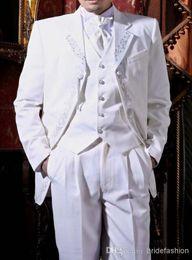 Wholesale High quality white wedding the groom dresses wedding dress the groom s best man lace coat pants vest